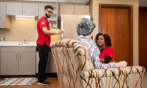 An apartment-style setup in CUAA's Simulation Center allows students to simulate at-home care scenarios with authenticity.