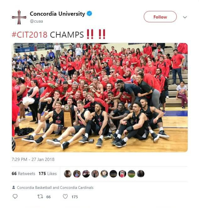 CUAA wins the 2018 Concordia Invitational Tournament.