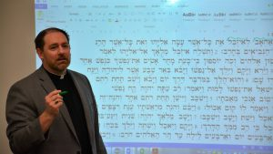 Dr. Penhallegon teaching Hebrew.