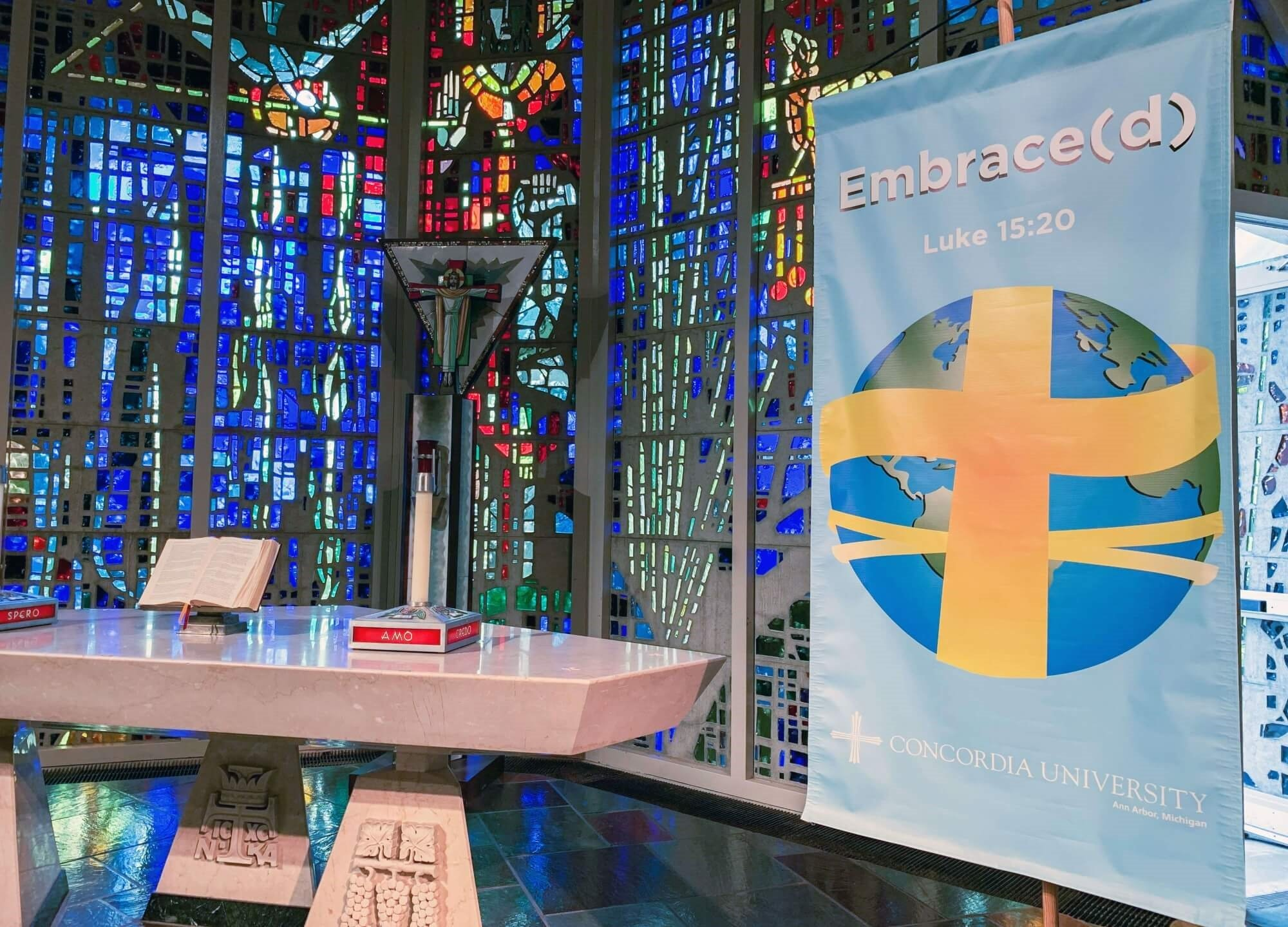 Embrace(d) banner in Chapel of the Holy Trinity