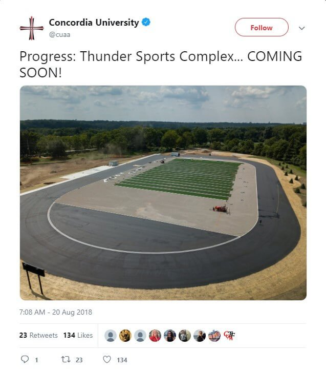 CUAA makes progress on the Thunder Sports Complex