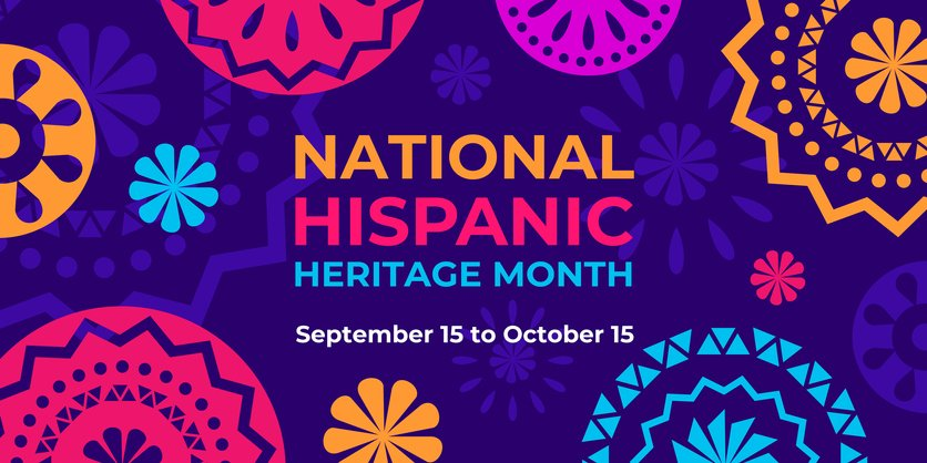 Hispanic heritage month. Vector web banner, poster, card for social media, networks. Greeting with national Hispanic heritage month text, Papel Picado pattern, perforated paper on purple background.